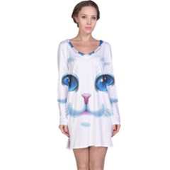 Cute White Cat Blue Eyes Face Long Sleeve Nightdress
