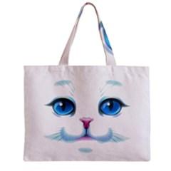 Cute White Cat Blue Eyes Face Zipper Mini Tote Bag
