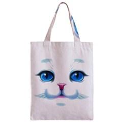 Cute White Cat Blue Eyes Face Zipper Classic Tote Bag
