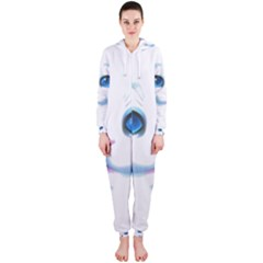 Cute White Cat Blue Eyes Face Hooded Jumpsuit (Ladies)
