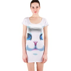 Cute White Cat Blue Eyes Face Short Sleeve Bodycon Dress