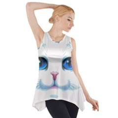 Cute White Cat Blue Eyes Face Side Drop Tank Tunic