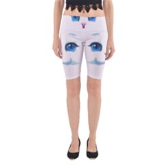 Cute White Cat Blue Eyes Face Yoga Cropped Leggings