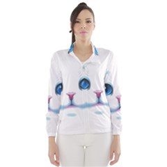 Cute White Cat Blue Eyes Face Wind Breaker (Women)