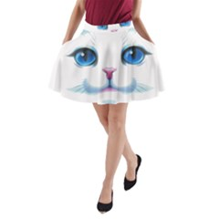 Cute White Cat Blue Eyes Face A-Line Pocket Skirt