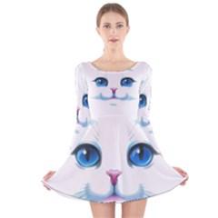 Cute White Cat Blue Eyes Face Long Sleeve Velvet Skater Dress