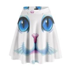 Cute White Cat Blue Eyes Face High Waist Skirt