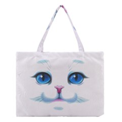 Cute White Cat Blue Eyes Face Medium Tote Bag