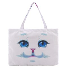 Cute White Cat Blue Eyes Face Medium Zipper Tote Bag