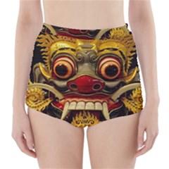 Bali Mask High-Waisted Bikini Bottoms