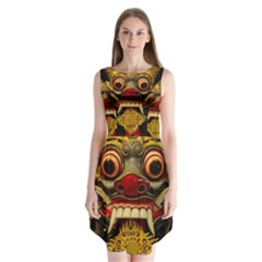 Bali Mask Sleeveless Chiffon Dress