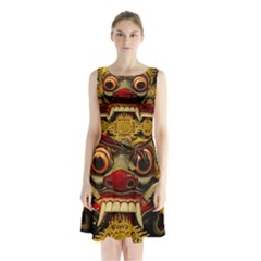 Bali Mask Sleeveless Chiffon Waist Tie Dress