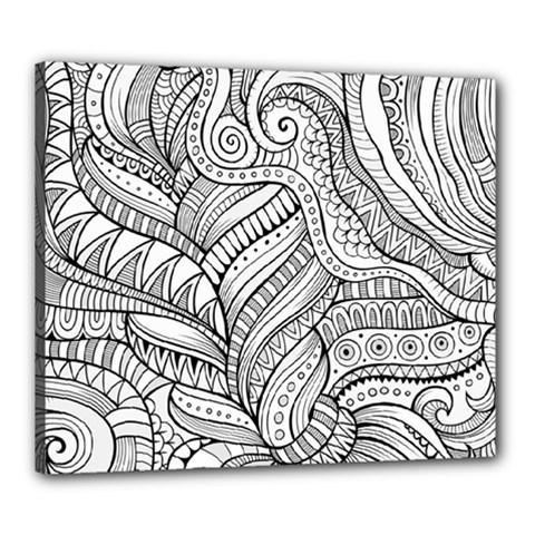 Zentangle Art Patterns Canvas 24  x 20