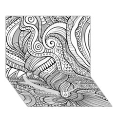 Zentangle Art Patterns Heart Bottom 3D Greeting Card (7x5)