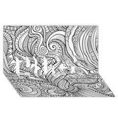 Zentangle Art Patterns HUGS 3D Greeting Card (8x4)