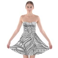 Zentangle Art Patterns Strapless Bra Top Dress