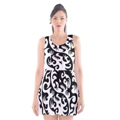 Ying Yang Tattoo Scoop Neck Skater Dress