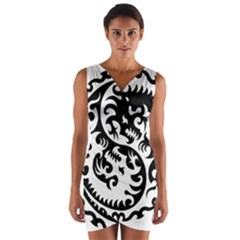 Ying Yang Tattoo Wrap Front Bodycon Dress