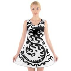 Ying Yang Tattoo V-Neck Sleeveless Skater Dress