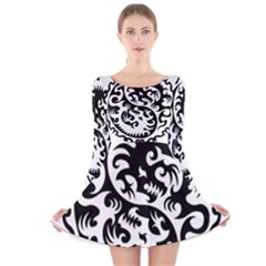 Ying Yang Tattoo Long Sleeve Velvet Skater Dress