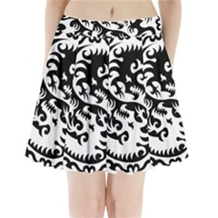 Ying Yang Tattoo Pleated Mini Skirt