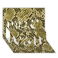 Yellow Snake Skin Pattern Miss You 3D Greeting Card (7x5)