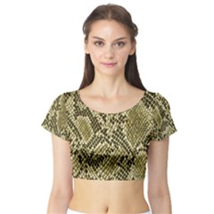 Yellow Snake Skin Pattern Short Sleeve Crop Top (Tight Fit)