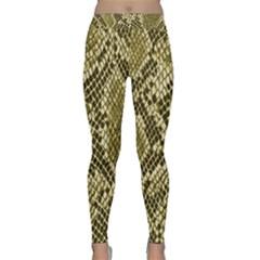 Yellow Snake Skin Pattern Yoga Leggings