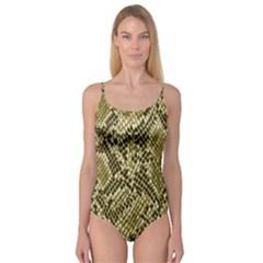 Yellow Snake Skin Pattern Camisole Leotard