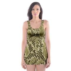 Yellow Snake Skin Pattern Skater Dress Swimsuit