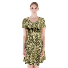Yellow Snake Skin Pattern Short Sleeve V-neck Flare Dress