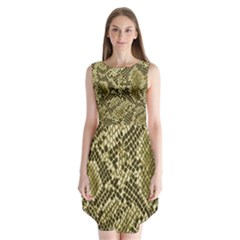 Yellow Snake Skin Pattern Sleeveless Chiffon Dress