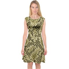 Yellow Snake Skin Pattern Capsleeve Midi Dress