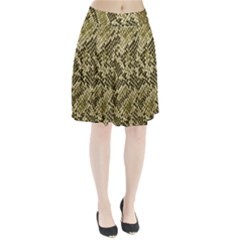 Yellow Snake Skin Pattern Pleated Skirt
