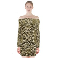 Yellow Snake Skin Pattern Long Sleeve Off Shoulder Dress
