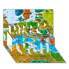 World Map Miss You 3D Greeting Card (7x5)