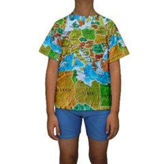 World Map Kids  Short Sleeve Swimwear