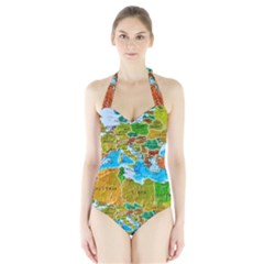 World Map Halter Swimsuit