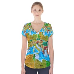 World Map Short Sleeve Front Detail Top