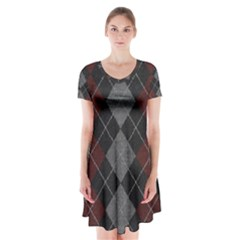 Wool Texture With Great Pattern Short Sleeve V-neck Flare Dress
