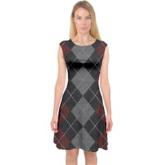 Wool Texture With Great Pattern Capsleeve Midi Dress