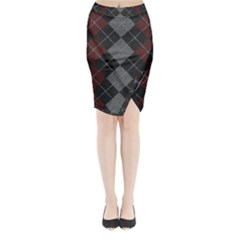 Wool Texture With Great Pattern Midi Wrap Pencil Skirt