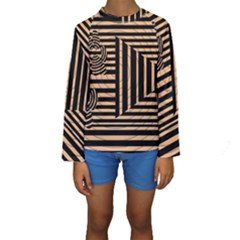 Wooden Pause Play Paws Abstract Oparton Line Roulette Spin Kids  Long Sleeve Swimwear