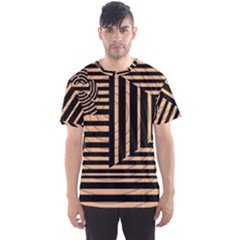 Wooden Pause Play Paws Abstract Oparton Line Roulette Spin Men s Sport Mesh Tee