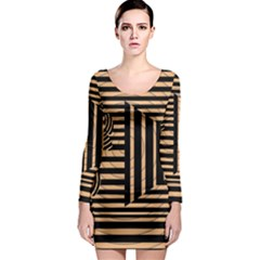 Wooden Pause Play Paws Abstract Oparton Line Roulette Spin Long Sleeve Bodycon Dress