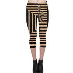 Wooden Pause Play Paws Abstract Oparton Line Roulette Spin Capri Leggings
