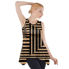 Wooden Pause Play Paws Abstract Oparton Line Roulette Spin Side Drop Tank Tunic