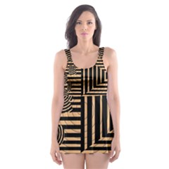 Wooden Pause Play Paws Abstract Oparton Line Roulette Spin Skater Dress Swimsuit