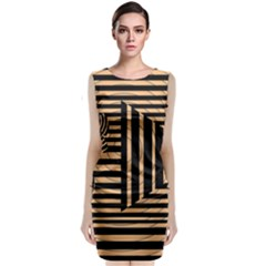 Wooden Pause Play Paws Abstract Oparton Line Roulette Spin Classic Sleeveless Midi Dress