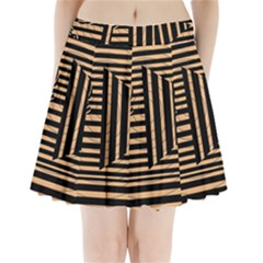Wooden Pause Play Paws Abstract Oparton Line Roulette Spin Pleated Mini Skirt